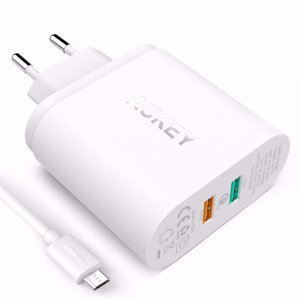 AUKEY PA-T12 Quick Charge 2.0 2-port USB Wall Charger Travel Charger - White / EU Plug