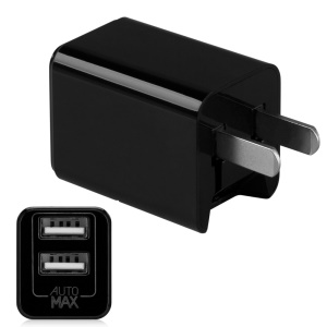 MOMAX U.Bull Junior 5V 2.4A Dual USB Travel Charger for Cellphone Tablet - Black / US Plug