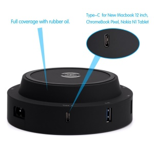 7 USB Ports + Type-C Port Qi Wireless Charging Station for Phone Tablet Etc - Black / EU Plug