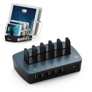 HAWK S561 5-port USB Charge Stand Station with 4 x 2.4A +1 x QC2.0 (CE/RoHS/FCC/UL/PSE) - Blue / US Plug