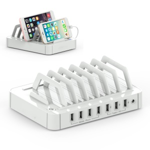 HAWK S762 7-port USB Charge Dock Station with 3x2.4A 4x1A (CE/RoHS/FCC/UL/PSE) - White / EU Plug