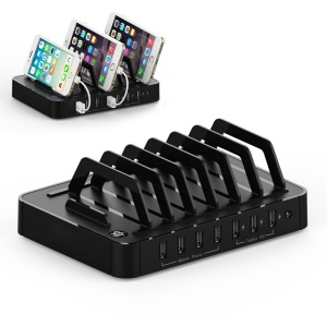 HAWK S762 7-port USB Charging Station with with 3x2.4A 4x1A (CE/RoHS/FCC/UL/PSE) - Black / US Plug