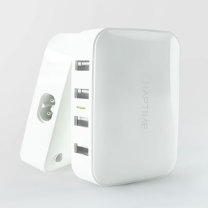 HAPTIME ZERO Mini 4-Port 4A USB Travel Charger for iPhone iPad Samsung (YGH-536) - White / EU Plug