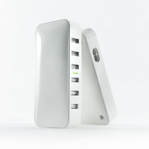 YGH-535 ZERO 6 USB Ports 8A Smart Wall Charger Desktop Charging Station for iPhone iPad Samsung - EU Plug