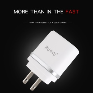 ZUOQI L201 US Plug Dual USB AC Power Adapter Travel Wall Charger for iPhone Samsung - Silver