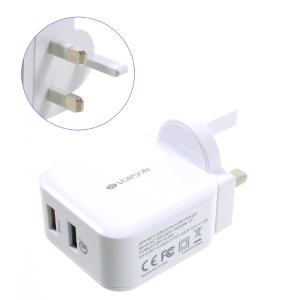 VORSON VT-004 30W 4.8A QC 3.0 Quick Charge 2 USB Home Charger (CE/FCC/RoHS) - White / UK Plug