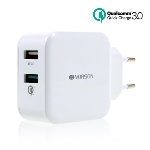 VORSON 30W Dual-port USB Travel Charger Support QC3.0 (CE/FCC/RoHS) - White / EU Plug
