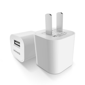 USAMS DC 5V 1A USB AC Power Adapter Wall Travel Charger for iPhone Samsung etc - White / CN Standard (US-CC018)