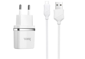 HOCO C12 2.4A Wall Charger Adapter + Micro USB Cable with Intelligent Charging IC for Samsung Huawei etc - White / EU Plug