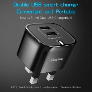 BASEUS 2.4A Dual USB Port Travel Wall Charger for iPhone iPad Samsung Etc - UK Plug / Black