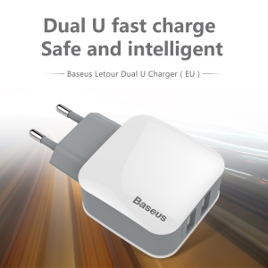 BASEUS Letour 2.4A 2-Port USB Wall Travel Charger for iPhone iPad Samsung - White / EU Plug