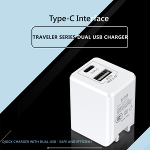 BASEUS Traveler Type-C + 2.4A USB Dual Port Portable Wall Charger for iPhone iPad Samsung Etc - White / CN Standard