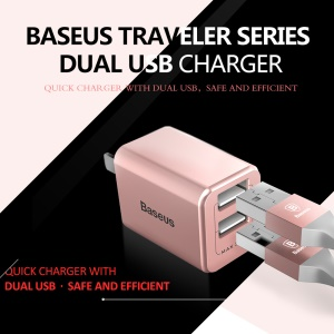 BASEUS Traveler Series 2.4A Double USB Wall Charger for Cell Phone Tablet - CN Plug / Rose Gold