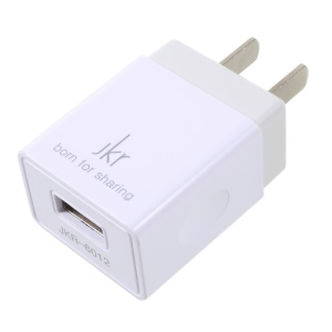JKR-6012 5V 1A USB Travel Charger Adapter for iPhone Samsung Cellphone - US Plug / White