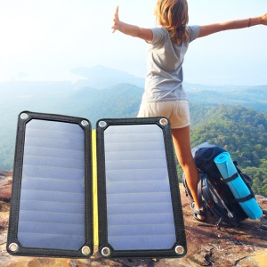 GLORY SOLAR GSP-13W-2 Foldable 13W 5V 1A/2A Dual USB Solar Charging Panel for iPhone Samsung Etc. - Black