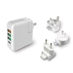 KP-4U QC 3.0 Quick Charger 3*USB Ports + Type-C Port Wall Charger AC Travel Adapter for New MackBook, Tablets, etc.