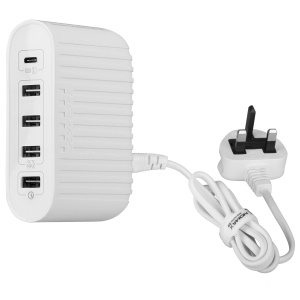 MOMAX U Bull 40W 5-Port USB Charging Adapter with Quick Charge 3.0 + USB-C Ports - White / UK Plug