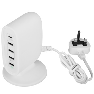 MOMAX U Bull 40W 5-Port USB Charging Station with Quick Charge 3.0 + Type-C Ports - White / UK Plug