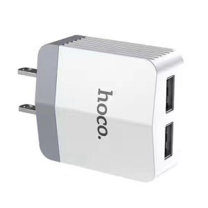 HOCO C13B Dual USB Charger Portable Travel Adapter for iPhone iPad Samsung Cellphone Tablet - White / US Plug