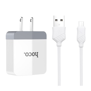 HOCO C13A Wall Charger Adapter with Micro USB Cable Kit for Samsung Huawei Sony - US Plug