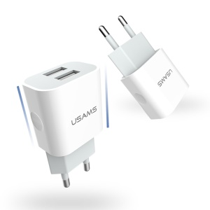 USAMS 5V 2.4A Dual USB Wall Travel Charger for iPhone Samsung HTC Etc (US-CC023) - EU Plug