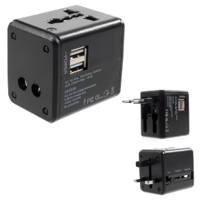 2.1A Dual USB Universal Travel Wall Charger Power Adapter Converter AU/UK/US/EU Plug - Black