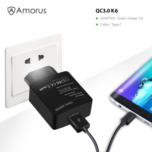 AMORUS K6 Charging Kit QC3.0 Wall Charger Adapter + USB Type-C Cable for Samsung Galaxy S8/S8 Plus /Nintendo Switch - EU Plug
