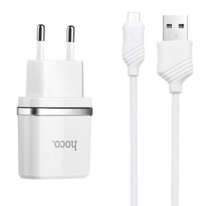 HOCO C11 Charger Kit 1A Wall Travel Charger Adapter + Micro USB Cable for Samsung Huawei Etc - EU Plug