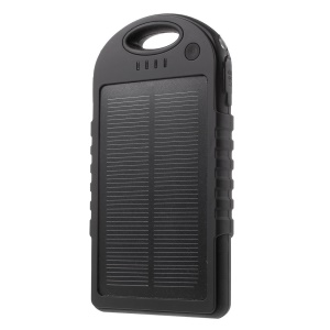 YD-T016 12000mAh Solar Charger External Battery Power Bank for iPhone Samsung LG HTC - Black