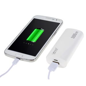 LEYOU LE-230 5000mAh External Power Bank for iPhone Samsung LG HTC - White