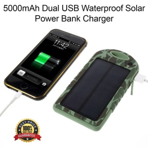 YD-T011 5000mAh Solar Powered Backup Battery for iPhone Samsung Sony etc - Camouflage