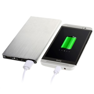 12000mAh 2-USB Brushed Metal Skin External Power Bank for Pokemon Game/ iPhone Samsung - Silver