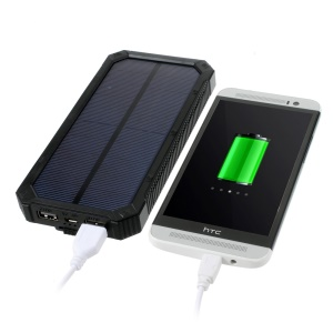 30000mAh Dimmable LED Solar Panel Power Bank Battery Charger for iPhone Samsung HTC Pokemon - Black