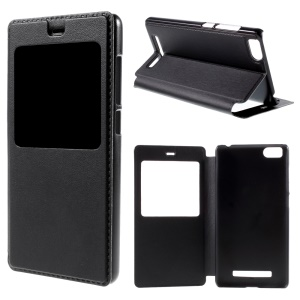 View Window Leather Stand Cover for Xiaomi Mi 4i / 4c - Black