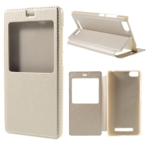View Window Leather Stand Case for Xiaomi Mi 4i / 4c - Champagne
