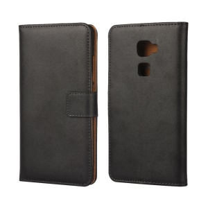 Wallet Genuine Split Leather Case for Huawei Mate S with Stand - Black