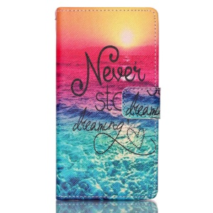 Leather Wallet Stand Phone Case for Huawei Ascend P8 Lite - Never Stop Dreaming