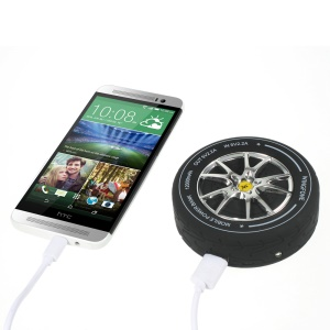 12000mAh 5V 2.2A Tire-shaped Power Bank for iPhone iPad Samsung Sony Pokemon Game - Silver