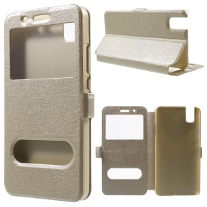 Dual View Window Leather Cover for Huawei ShotX / Honor 7i with Stand - Champagne