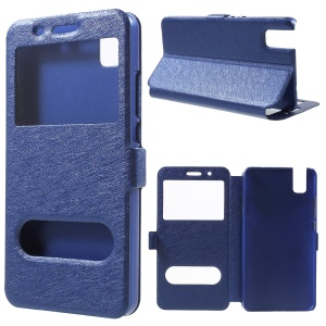 Dual View Window Leather Cover for Huawei ShotX / Honor 7i with Stand - Blue