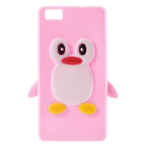 3D Penguin Silicone Phone Shell for Huawei Ascend P8 Lite - Pink