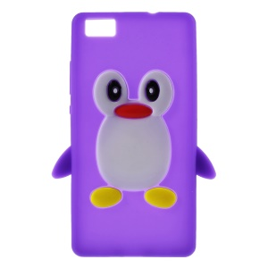 3D Penguin Silicone Case for Huawei Ascend P8 Lite - Purple