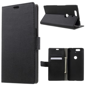 Card Holder Leather Cover for Huawei Nexus 6P with Stand - Black