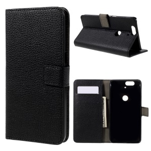 Litchi Texture Leather Cover Case Wallet Stand for Huawei Nexus 6P - Black