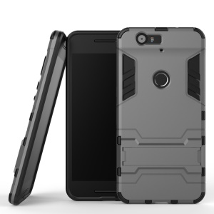 Kickstand Plastic + TPU Hybrid Back Cover for Huawei Nexus 6P - Grey