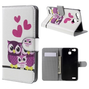Magnetic Flip Leather Wallet Cover Case for Huawei Enjoy 5s / GR3 - Love Owl Family