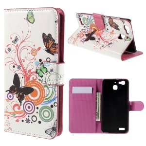 Flip Leather Stand Card Holder Case for Huawei Enjoy 5s / GR3 - Colorful Butterflies and Circles