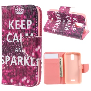Patterned Wallet Leather Stand Cover for Huawei Y360 - Keep Calm and Sparkle