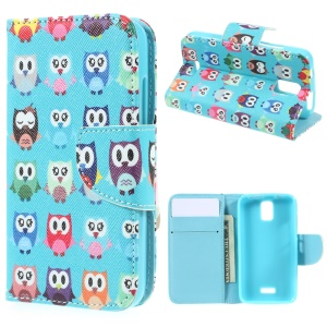 Patterned Wallet Leather Stand Cover for Huawei Y360 - Various Owls