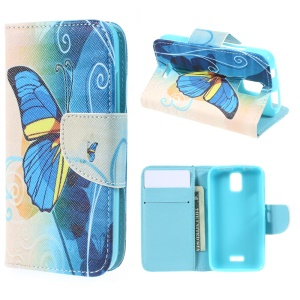 Patterned Wallet Leather Stand Shell for Huawei Y360 - Beautiful Butterfly